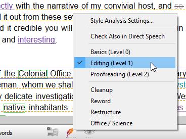 Style analysis context menu