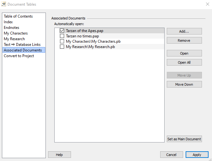 Associated documents dialog