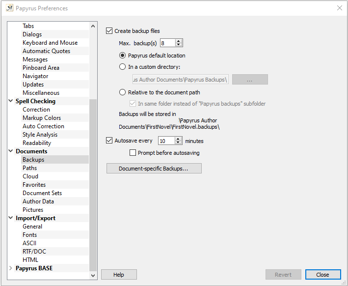 Preferences backup settings