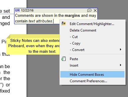 Comments context menu