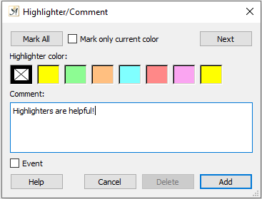 Highlighter/comment dialog