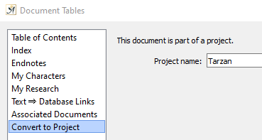 Convert to project dialog