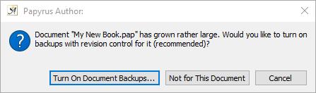 Document backup message