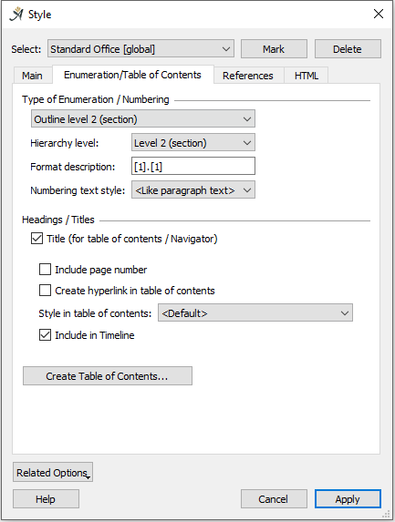Enumeraton and Table of Contents style