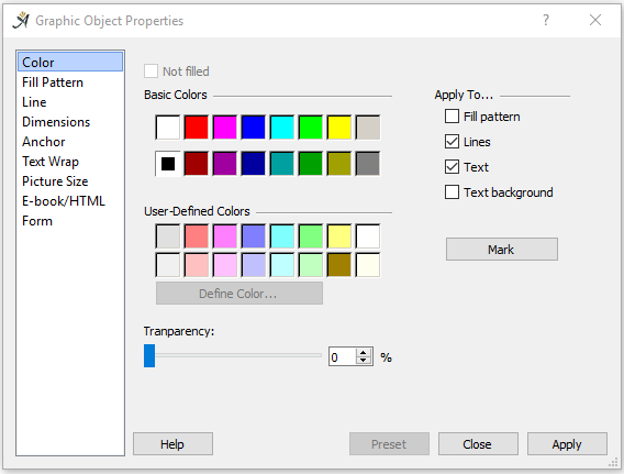 Graphic Object Colors