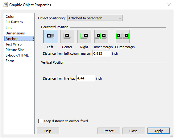 Graphic object properties, anchor dialog