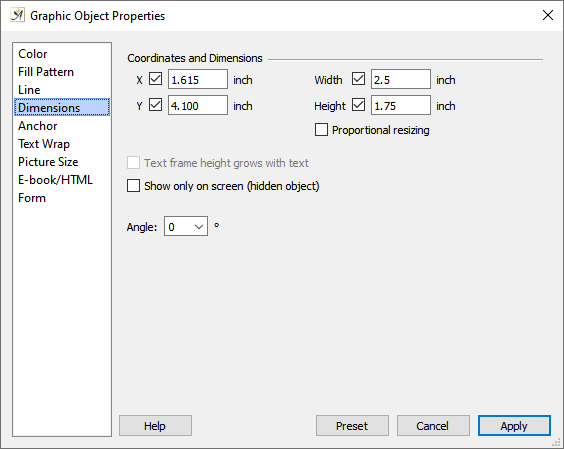 Graphic object properties dimensions tab