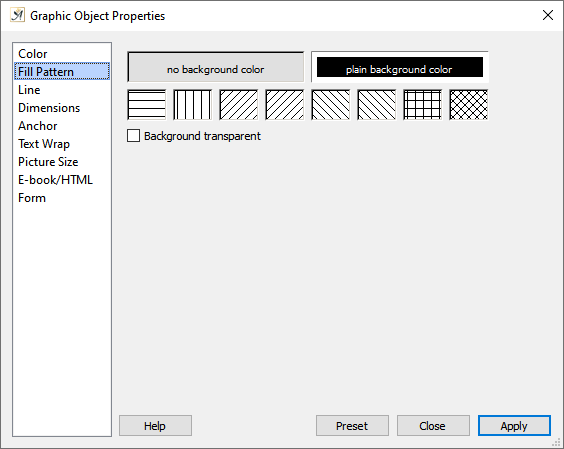 Graphic object properties fill pattern dialog
