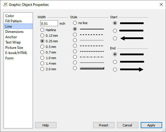 Graphic object properties line dialog