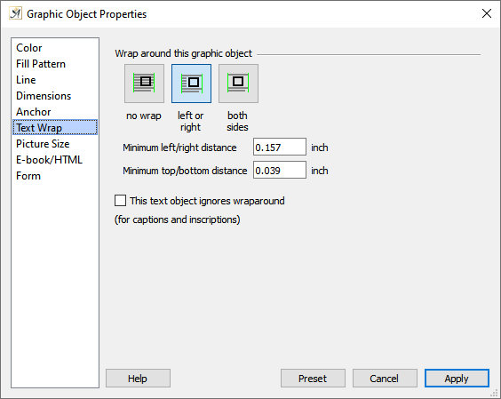 Graphic object properties, text wrap dialog