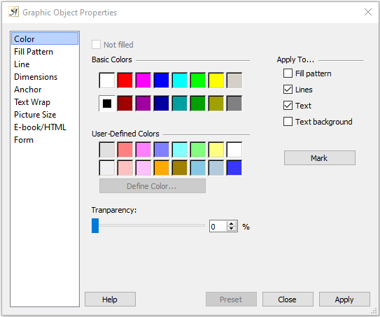 Graphic object dialog color tab
