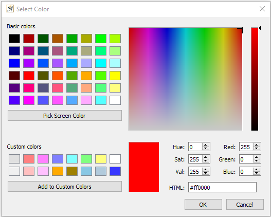 Graphic object properties define color dialog