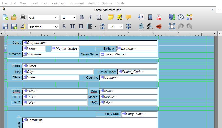 Database form edit screen