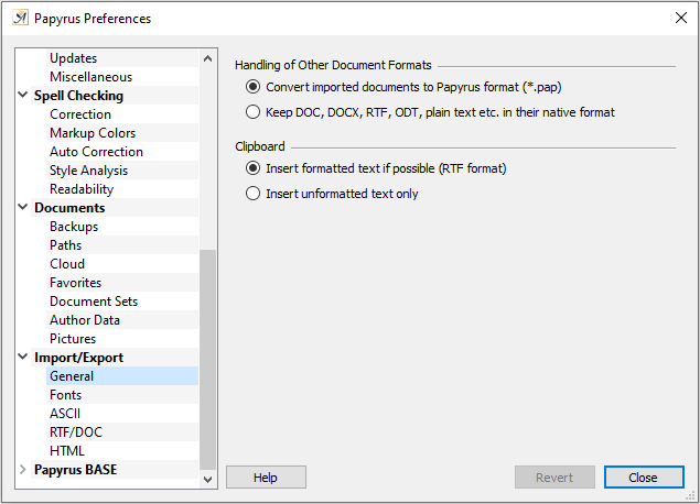 Preferences Import settings general tab