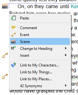 Adding a scene through the context menu