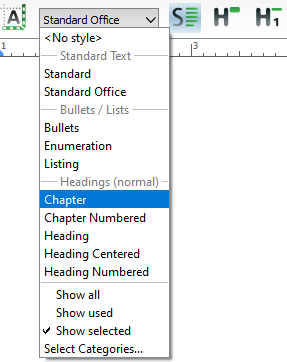 Styles dropdown list