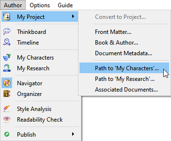Path to My Characters database