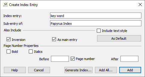 Create index dialog