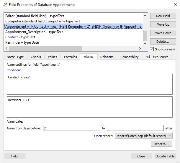 Database field properties alarm tab