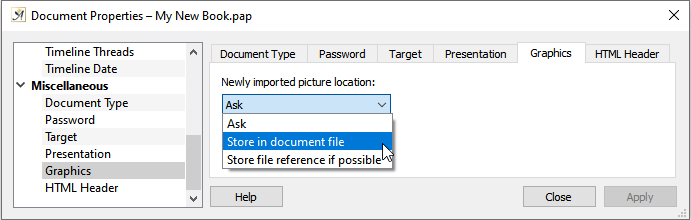 Document properties graphics dialog