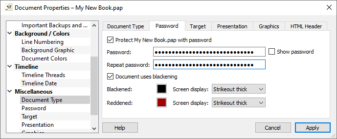 Document properties password setup dialog