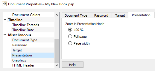 Document properties presentation dialog