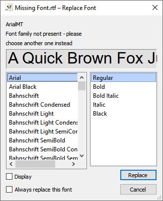 Font replace dialog