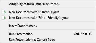 File menu, generate sub menu