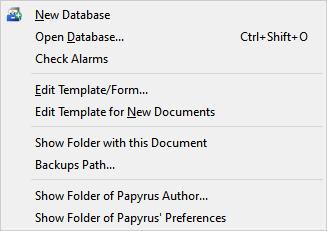 File menu, open other sub menu