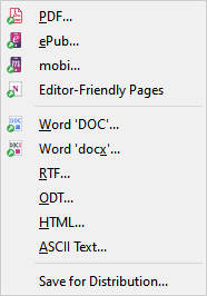 File menu, publish sub menu