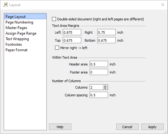 Page layout dialog