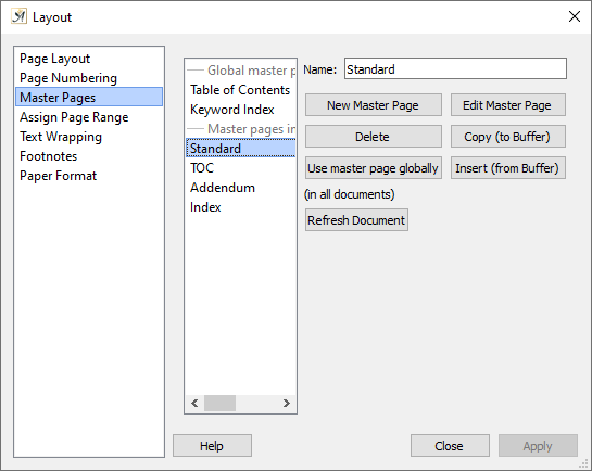 Page layout master page dialog