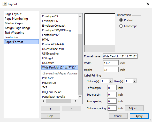 Page Layout dialog paper format tab