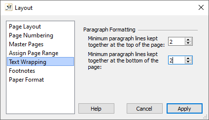 Page layout text wrapping dialog