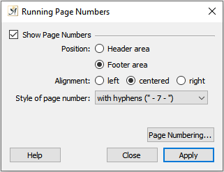 Page numbering dialog