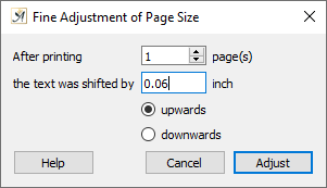 Fine adjustment of paper size dialog