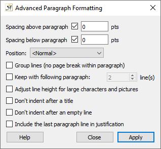 Advanced paragraph formatting dialog
