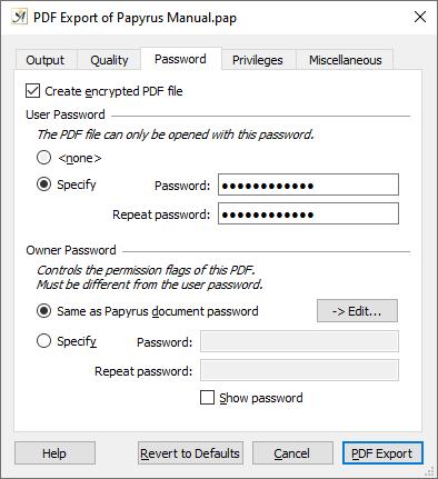 PDF export dialog password tab