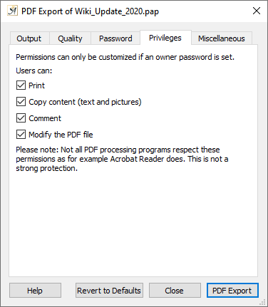 PDF export dialog privileges tab