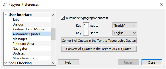 Preferences automatic quotes dialog