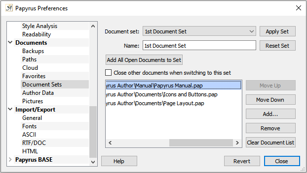 Preferences Document Sets dialog