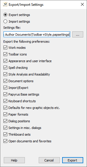 Preferences import and export settings