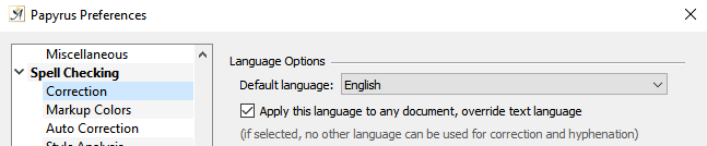 Preferences default language setting