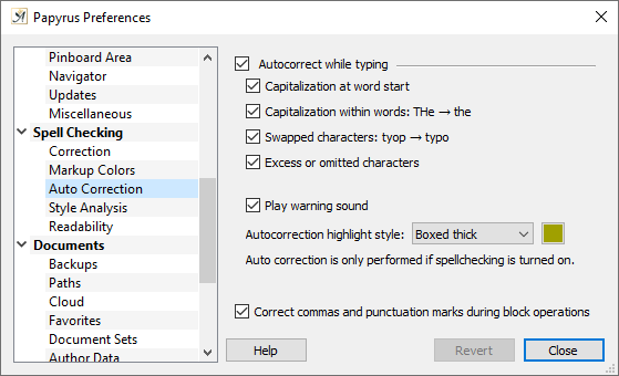 Preferences spelling autocorrection settings