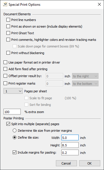 Special print options dialog