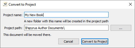 Convert document to project dialog