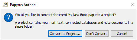 Convert document to project with research