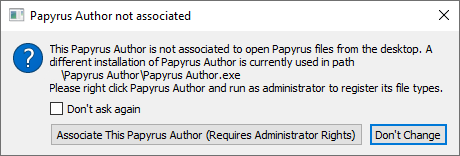 Papyrus Author register message