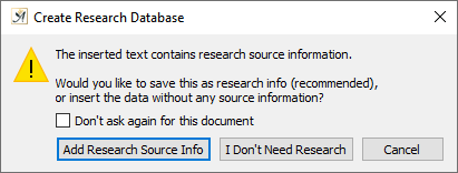 Create research database message