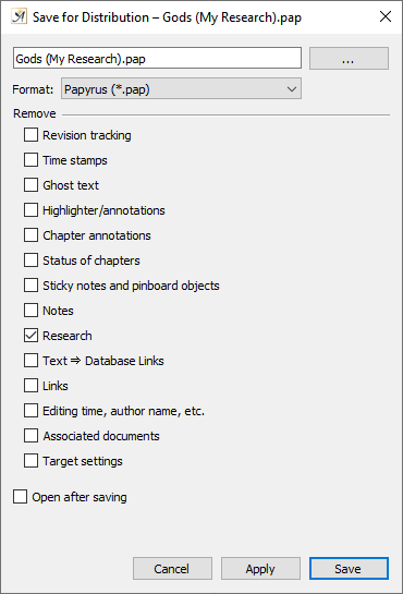 Research distribution settings